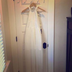 White Halter Backless Dress from Lulus
